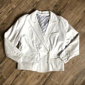 Other - Vintage 80s White Leather Tuxedo Jacket 48 EUC